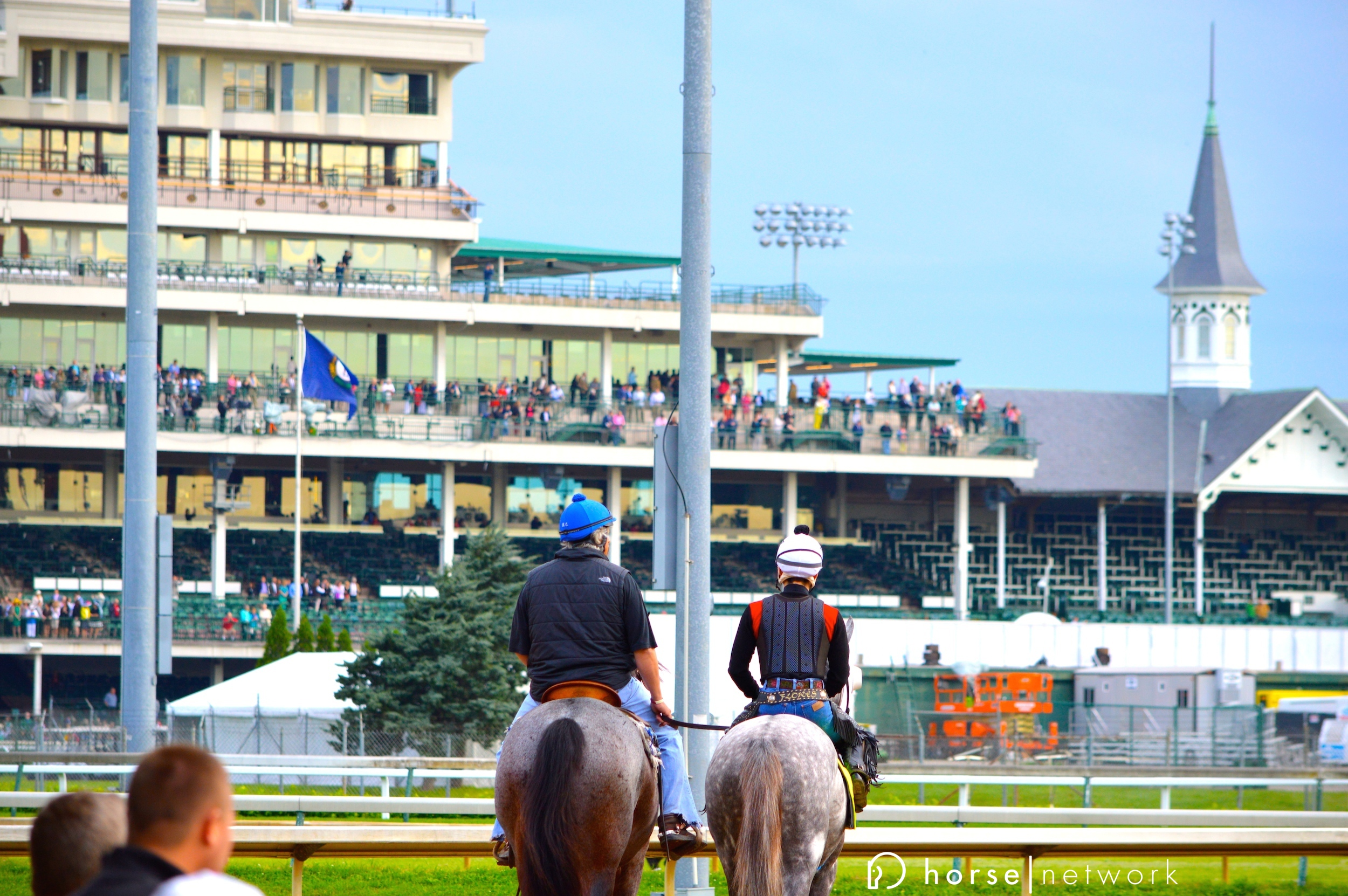 Arkansas Derby champ Creator (right) takes in the grand stage.