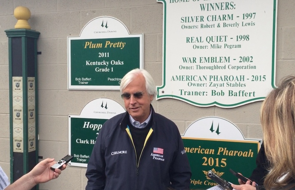 Bob Baffert regaled reporters with tales of his recent visit with American Pharoah. Baffert will saddle Mor Spirit in Saturday's Derby.